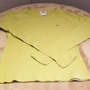Lacoste lime green long sleve shirt